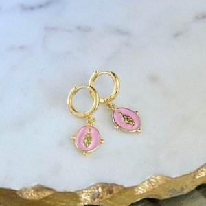 Gold St Mary Pave Huggie Hoop Earrings Madonna